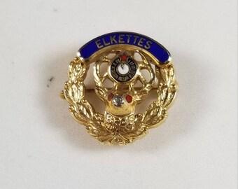 Vintage Elkettes Benevolent and Protective Order of Elks Pin BPOE