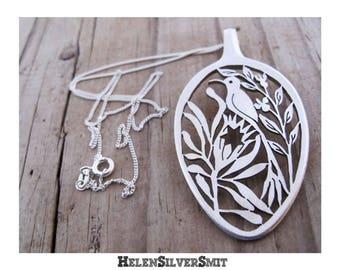 Bird Necklaces, Sugarbird Pendants, Sugarbird Bird Necklaces, South African Sugarbird Protea teaspoon Spoon Pendant Necklace, Bird Eco Art