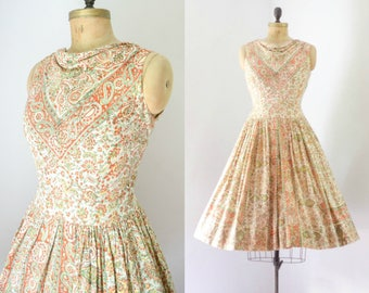 Vintage 1950's Block Print Indian Cotton Dress