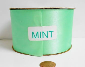 Mint Green Satin Ribbon C&G Wedding Decoration Gift Wrap DIY Craft Double Face Water Repellent Spool 2.5 Inch 50 Yard Roll