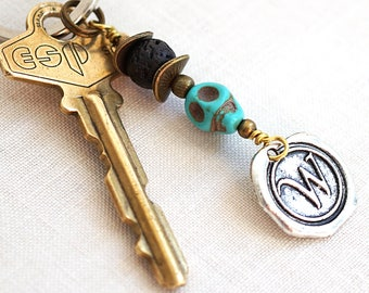 Halloween Costume Accessory Black Lava Stone Blue Turquoise Skull Keychain Initial Monogram Personalized Essential Oil Diffuser Key Chain