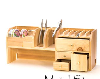 """Jewelers Bench Top Organizer with four drawers, plier rack. Organize your work area. 18"""" L x 4-1/2"""" W x 7-1/2"""" H. 3.5 lbs."""