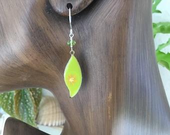 Hand Made Enamel Leaf Earrings, Gold Filled Or Sterling Silver
