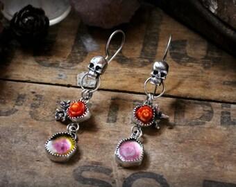 Dia de Muertos Earrings - Watermelon Tourmaline Slices & Vintage Coral Roses - Skull, Succulent, Day of the Dead, Rocker, Mismatched, OOAK