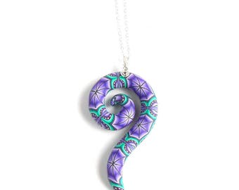 Purple Millefiori Spiral Pendant, Polymer Clay and Sterling Silver by Supremily Jewellery