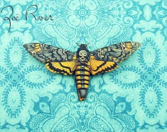 Black and yellow moth wooden brooch. Halloween brooch. Death moth pin. Skull moth brooch. Moth butterfly broach. Butterfly brooch.