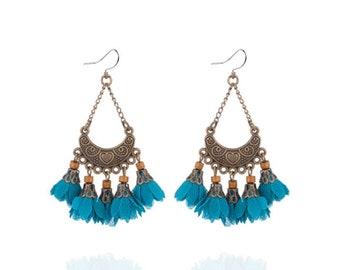 Deep aqua blue flower tassel earrings - surgical steel earrings, bronze long fringe earrings, stainless steel earwires nickel free jewelry
