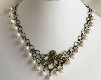 Kraken Necklace Antique Brass and White Freshwater Pearls