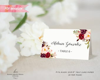 Printable Burgundy Floral Tent Place Card, Editable PDF Template, Wedding Reserved Card Food Label Fit Avery Paper, DIY Instant Download #01