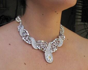 bridal pearl necklace, pearl necklace, Wedding Rhinestone necklace, swarovski crystal and pearl necklace, Statement bridal necklace, GRACE