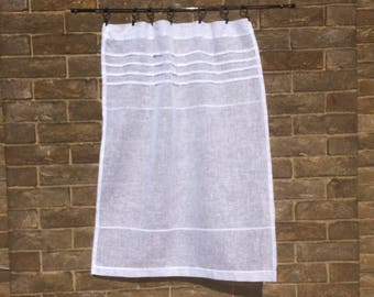 Sheer White Linen Panel, Bathroom Curtain, Shabby Chic Curtain, Privacy Panel
