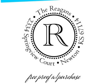 Round Custom Monogram Return Address Stamp with Single Initial in Center. Mounted with Handle or Self Inking Return Address Stamp (20361)