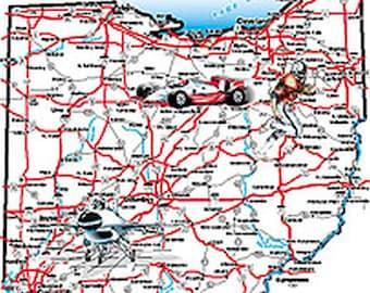 Adult Unisex Short Sleeve T Shirt Ohio The Buckeye State Jumbo Map 1341