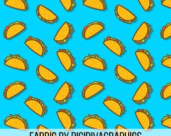 Taco Party Fabric By The Yard - Whimsical Ditzy Taco Pattern on Blue Print in Yard & Fat Quarter