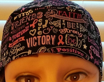 Positive Words on Black Chemo Cap, Skull Cap, Surgical Cap, Head Wrap, Bald, Hair Loss, Alopecia, Bandanna, Do Rag, Motorcycle, Handmade