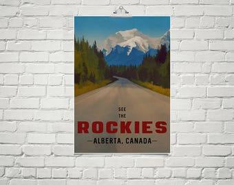 Rocky Mountains Travel Poster 18x24 Size Alberta Canada Vintage Style Landscape Art