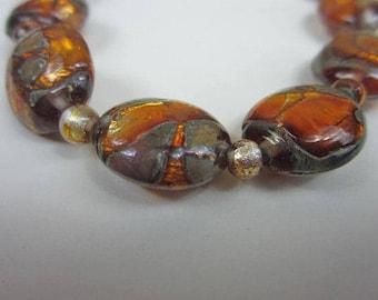 """On Sale Vintage Venetian Foil Glass Bead Necklace 16"""" long"""