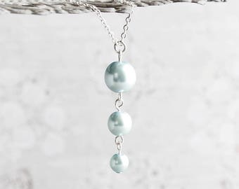 Pale Blue Necklace, Light Blue Pearl Necklace on Silver Plated Chain, Blue Pearl Pendant, Blue Wedding Jewelry