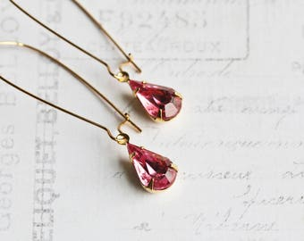 Pink Drop Earrings, Small Teardrop Earrings, Rhinestone Drops on Gold Plated Hooks, Rose Pink Earrings, Pink Dangles, Prom Jewelry
