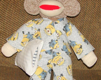 Sock Monkey, Red Heel Sock Monkey, Sock Monkey with Minion Pajamas, Nursery Decor, New Baby Gift, Baby Shower Gift