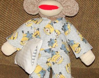 Sock Monkey, Red Heel Sock Monkey, Sock Monkey with Minion Pajamas, Nursery Decor, New Baby Gift, Baby Shower Gift