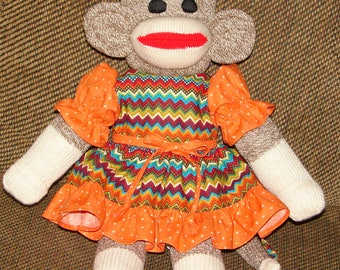Sock Monkey, Red Heel Sock Monkey, Sock Monkey with Colorful Dress, New Baby Gift, Baby Shower Gift, Nursery Decor