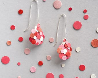 Pink Red Valentine Confetti Black Leather Statement Teardrop Dangle Earrings Silver Fill Colourful Sustainable Eco Friendly Gift Japanese