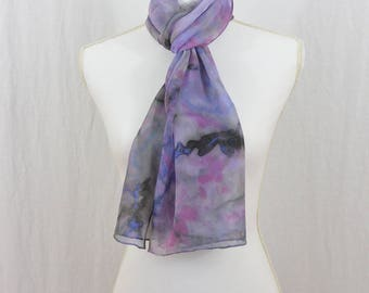 Hand Painted Chiffon Silk Scarf, Watercolor Scarf, Purple Scarf, Bohemian, Witch, One of a Kind, Gift for Her, Whimsical, Artsy