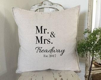 Family Name | Wedding Pillows | Bride and Groom Name Pillow | Farmhouse Decor | Farmhouse Chic | Bridal Shower Gift