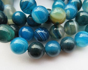 Blue Banded Agate Beads 8mm Round Smooth Dyed Beads g025