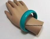Green Turquoise Bracelet Bangle Vintage Large Round Wide Band Plastic Coated Domed Band Ring