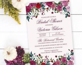 Roses Bridal Shower Invitation, Floral Bridal Shower Invitation, Red Roses, Personalized, Printable or Printed