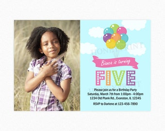 Balloon Birthday Party Invitation, Pink Purple Orange Balloon Bouquet, Photo Invitation, Printable or Printed