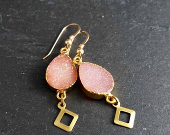 Peach Pink Pear Druzy Gold Filled Drop Statement Earrings