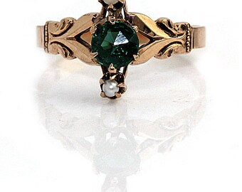 Emerald Engagement Ring Rose Gold Ring Emerald Doublet Antique Victorian Engagement Ring .25ctw 14K Alternative Engagement Artdecodiamonds