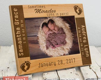 Twins Baby Picture Frame-Personalized Twin Birth Announcement Picture Frame w/ stats-Baby Stat-Baby Name-New Baby-Wood Engraved-Color Choice
