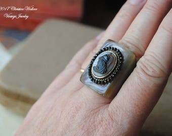 Shell Soldier--Antique Hand Carved Shell Intaglio Cameo Black Spinel Horn RING