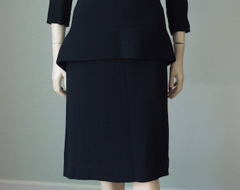 1940s Rayon Dress / 40s Black Dress / Vintage 1940s Dress with Peplum / Art Deco Style with Trapunto / Small