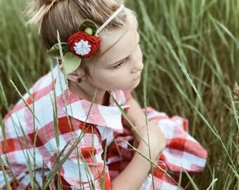 Strawberries and Cream // Single Flower Headband or Alligator Clip, Carnation Felt Flower Accessories