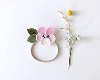 Flower Headband Baby, Felt Flowers, Pink Pansy, giddyupandgrow