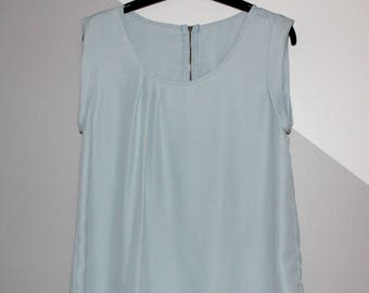 Powder Blue Top Blouse Sleeveless Shirt. Size S. Refashion. Handmade. OOAK