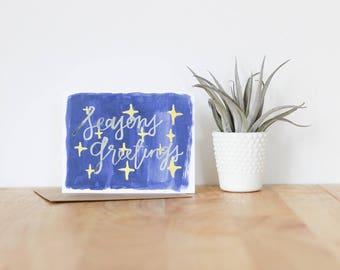 "handmade greeting card, ""seasons greetings"" - christmas, holiday, seasonal, watercolor, illustration, brush lettering, calligraphy"