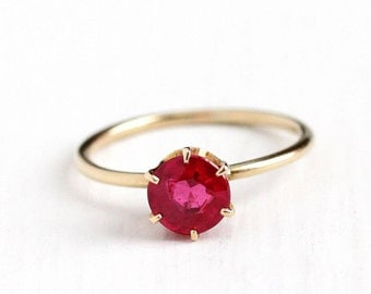 Sale - Antique 14k Yellow Gold Created Ruby Ring - Vintage 1910s Size 6 Edwardian 1 Carat + Synthetic Red Pink Stone Engagement Fine Jewelry