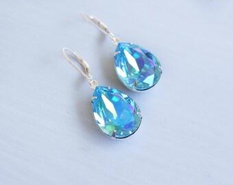 Earrings, Crystal Earrings, Silver Earrings, Dangle Earrings, Drop Earrings, Aqua Earrings, Handmade Earrings, Bridesmaid Earrings, Gift
