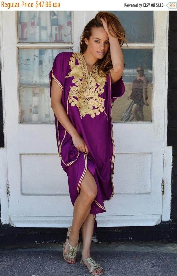 25% OFF Autumn Sale// Royal Purple with Gold Marrakech Resort Caftan Kaftan -beach cover ups, resortwear,loungewear, maxi dresses, birthdays