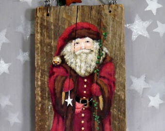 "The Raspberry Suit, Santa Claus, authentic barnwood, original hand painted art, 5"" x 9"""