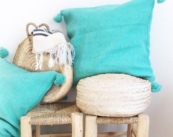 Moroccan POM POM pillow cover - Turquoise