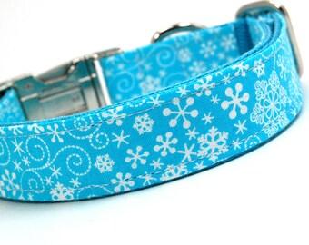 Handmade Dog Collar - Teal Snowflake Swirl - Winter Dog Collar - Teal and white dog Collar with snowflakes wind gusts