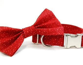 Handmade Dog Collar and Bow Tie Set - Miny Red Dots - Custom Made RedPolka Dot Dog Collar with bowtie - Collar with Dots