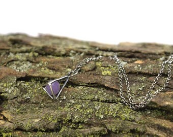 Raw Grape Agate Necklace in Sterling Silver - Crystal Cage Necklace - Raw Crystal Necklace - Grape Chalcedony Necklace - Grape Agate Jewelry